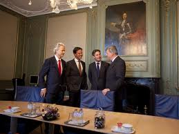Wilders with coalition leaders