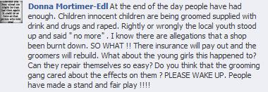 EDL Donna Mortimer Rochdale riot comment