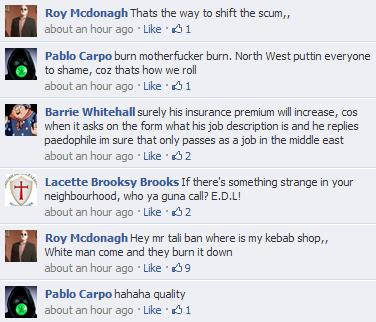 EDL Rochdale riot Facebook comments(2)