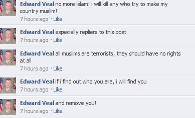 Edward Veal Facebook comments