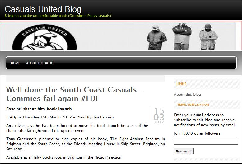 Casuals United threaten Tony Greenstein