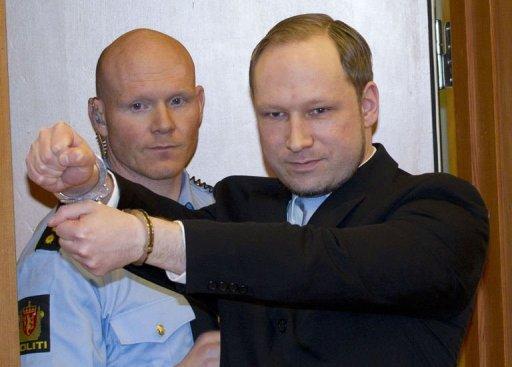 Anders Breivik in handcuffs