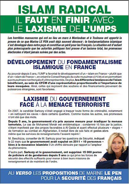 Marine Le Pen Islam Radical leaflet