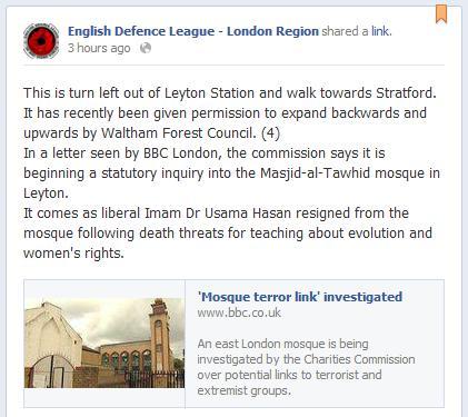 EDL London Region Masjid-al-Tawhid