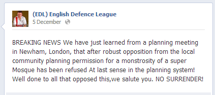 EDL on Newham mosque rejection