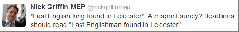 Nick Griffin Leicester tweet