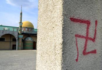 Agen mosque swastika