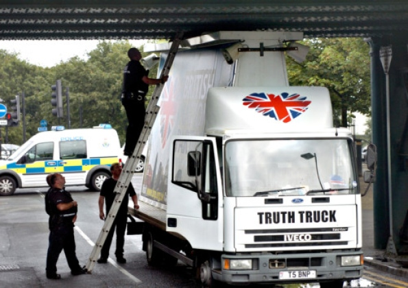 BNP Truth Truck stuck