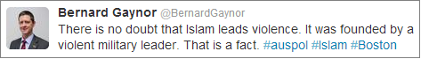 Bernard Gaynor Islam violence Twitter