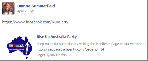Dianne Summerfield Rise Up Australia Party