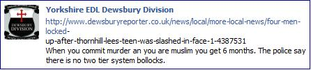 EDL Dewsbury Facebook comment on members' imprisonment