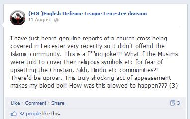 EDL Leicester church cross lie