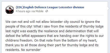 EDL support for Thurnby Lodge protest