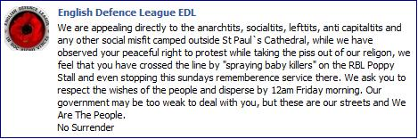 EDL threat to Occupy