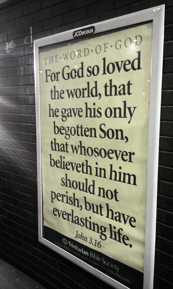JCDecaux Trinitarian Bible Society ad
