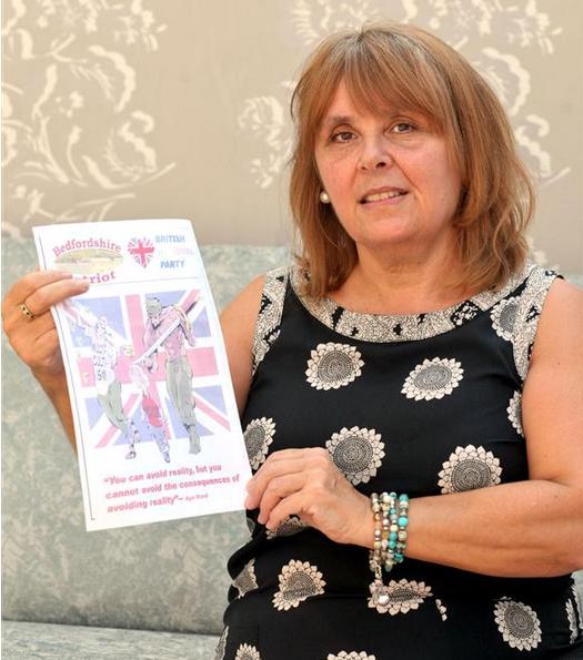 Linda Jack with BNP leaflet