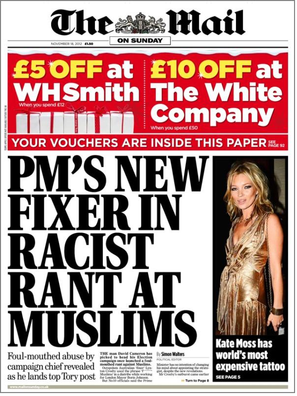 Mail on Sunday Lynton Crosby front page
