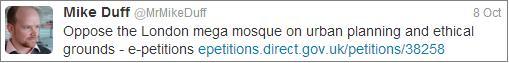 Mike Duff 'mega mosque' tweet