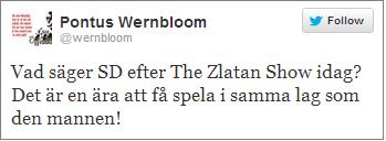Pontus Wernbloom Zlatan tweet