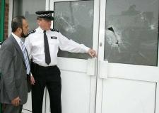 Redbridge Islamic Centre broken window