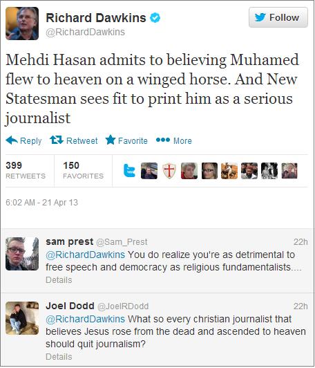 Richard Dawkins Mehdi Hasan tweet
