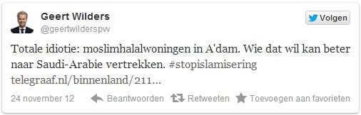 Wilders 'hahal housing' tweet