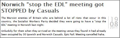 Casuals United stop Norwich SWP meeting