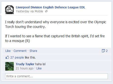 EDL Liverpool Division Olympic torch comment