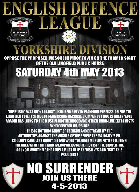 EDL Yorkshire division anti-mosque protest
