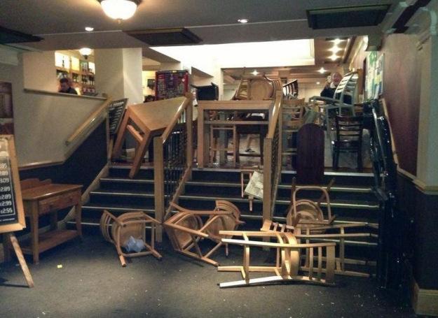 EDL wreck Bristol pub