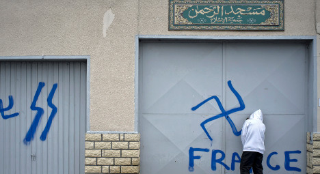 Lyon mosque fascist graffiti