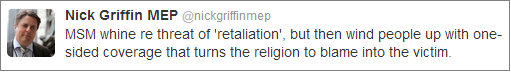 Nick Griffin Woolwich tweet