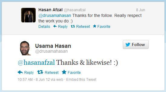 Usama Hasan and Hasan Afzal love-in