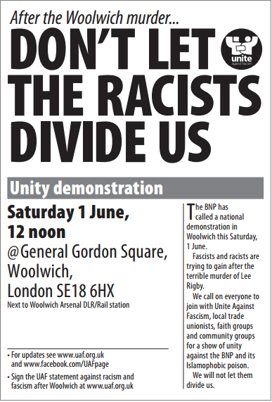 Woolwich unity demonstration flyer