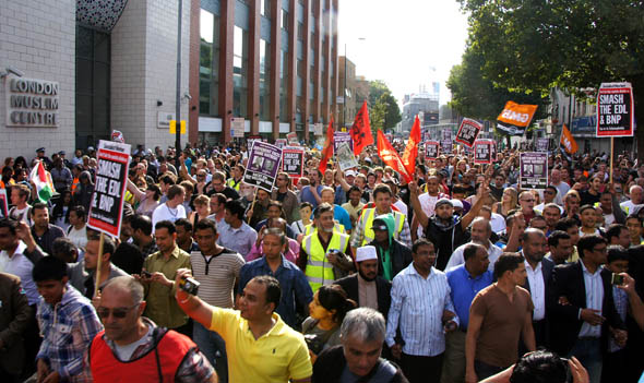 Anti-EDL demonstrators Tower Hamlets