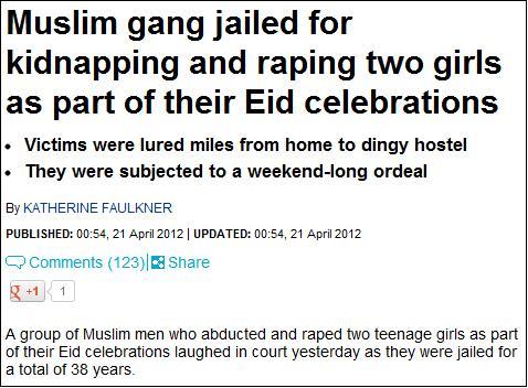 Daily Mail Eid rape headline