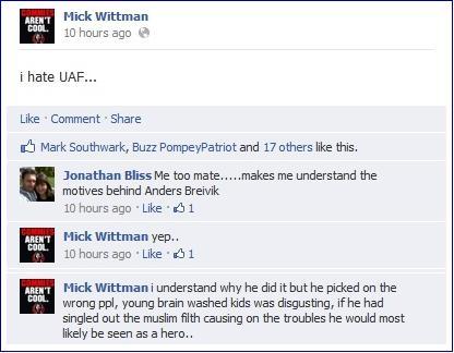 Mick Wittman Breivik comment