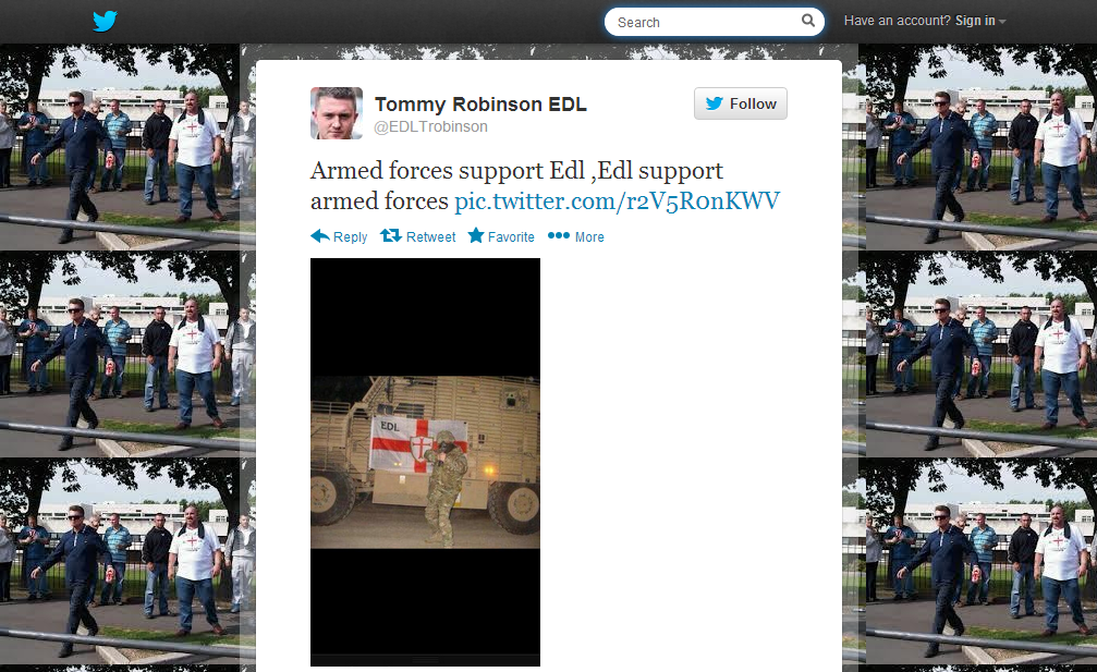 Stephen Lennon armed forces support Edl