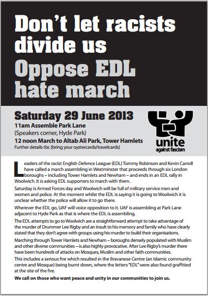 UAF anti-EDL march June 2013