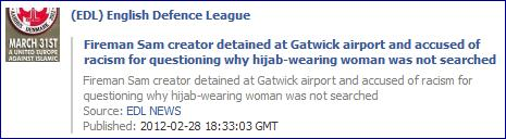 EDL Torygraph Gatwick story