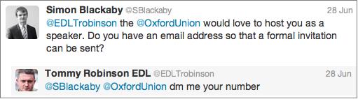 Oxford Union invite to Lennon