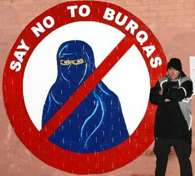 Say no to burqas mural