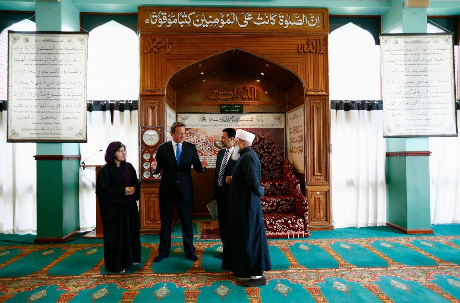David Cameron at Jamia Mosque