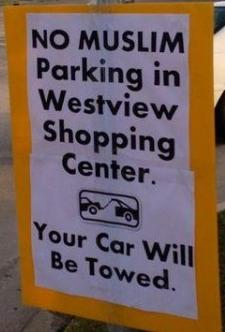 No Muslim Parking sign