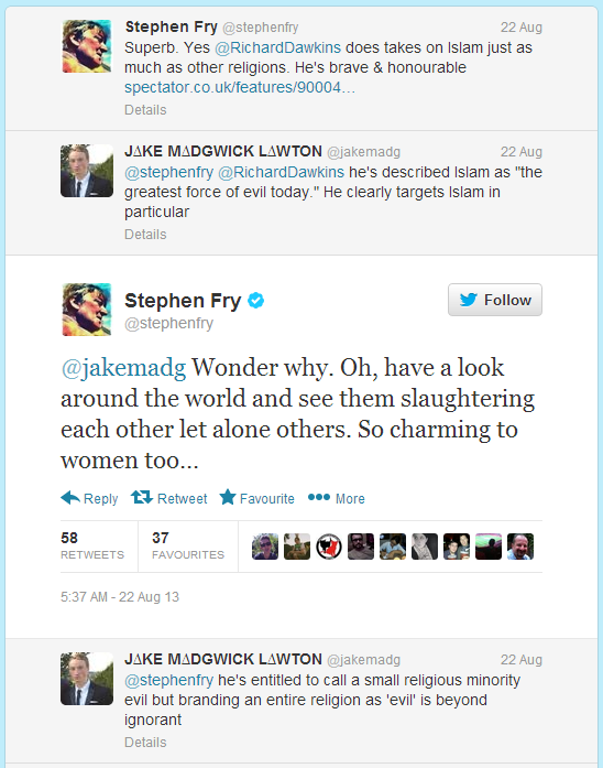 Stephen Fry defends Dawkins