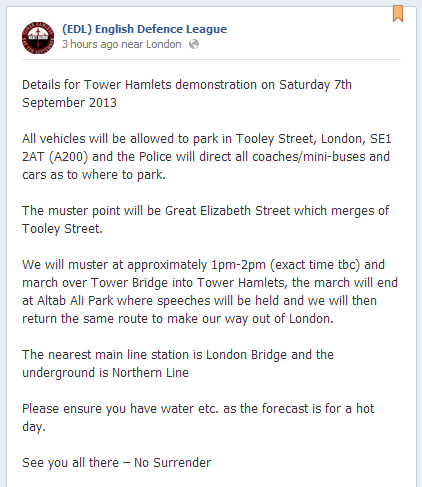 EDL Tower Hamlets demo announcement