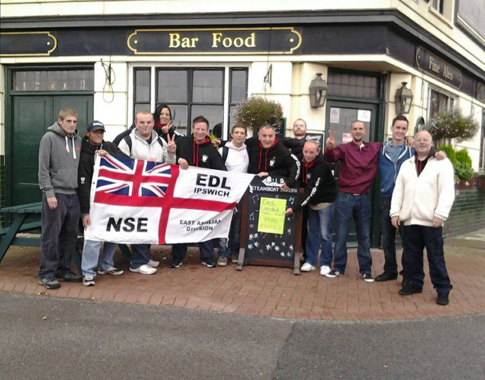 EDL outside Steamboat pub
