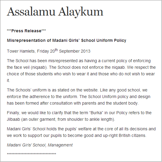 Madani Girls' School press release