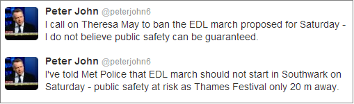 Peter John calls for ban on EDL