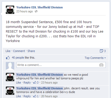 Sheffield EDL responds to John Claydon sentence